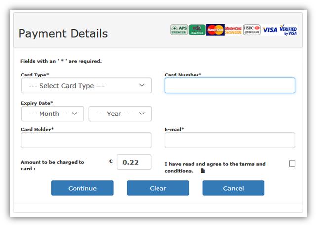 Desktop Version of Payment Page